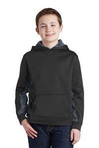 Sport-Tek® Youth Sport-Wick® CamoHex Fleece Colorblock Hooded Pullover
